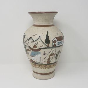 Vintage Handpainted Desert Stone Vase